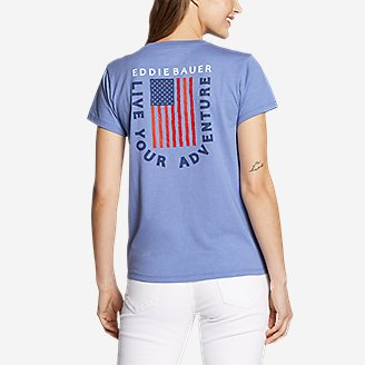 Thumbnail View 2 - Women's Graphic T-Shirt - Live Your Adventure Flag