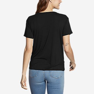 Thumbnail View 2 - Women's Soft Layer Twist-Front Short-Sleeve Crew T-Shirt - Solid