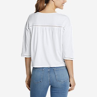 Thumbnail View 2 - Women's Gate Check 3/4-Sleeve Embroidered Yoke Top