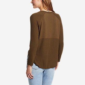 Thumbnail View 2 - Women's Soft Layer Long-Sleeve Mixed-Rib V-Neck T-Shirt