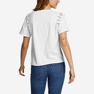 Thumbnail View 2 - Women's V-Neck Lace-Up Sleeve Top