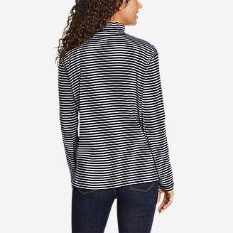 Thumbnail View 2 - Women's Favorite Long-Sleeve Mock-Neck T-Shirt - Stripe