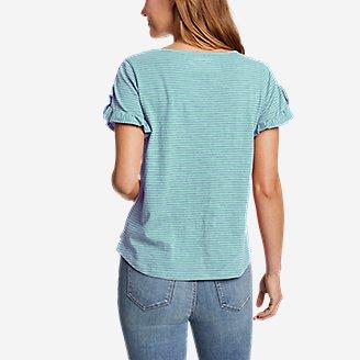 Thumbnail View 2 - Women's Sunwashed Striped Ruffle-Sleeve T-Shirt