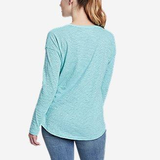Thumbnail View 2 - Women's Sunwashed Striped V-Neck T-Shirt