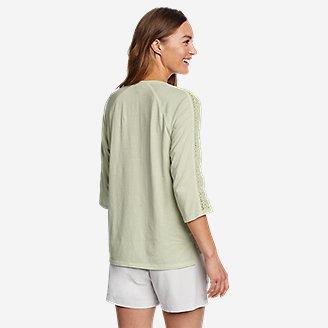 Thumbnail View 2 - Women's Ophelia 3/4-Sleeve Crochet T-Shirt