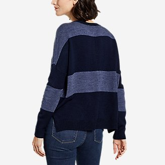 Thumbnail View 2 - Women's Easy Crewneck Sweater - Stripe