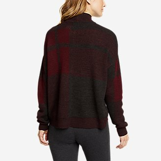 Thumbnail View 2 - Women's Plaid Mock-Neck Pullover Sweater