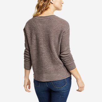 Thumbnail View 2 - Women's Mixed-Stitch Asymmetrical Pullover Sweater