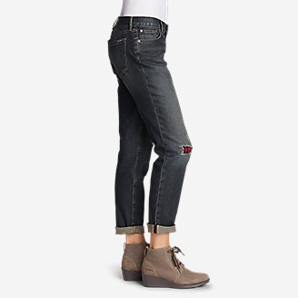 Thumbnail View 3 - Women's Boyfriend Flannel-Patch Jeans