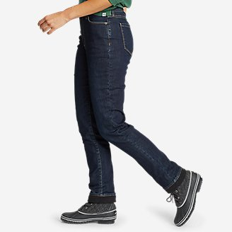 Thumbnail View 3 - Women's Voyager Fleece-Lined High-Rise Jeans - Slightly Curvy Slim Straight