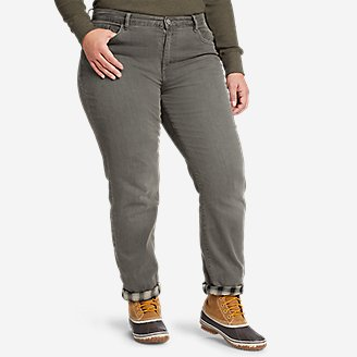 Thumbnail View 2 - Women's Boyfriend Flannel-Lined Jeans