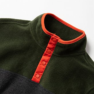 Thumbnail View 3 - Boys' Quest Fleece Snap-Neck Pullover - Color Block