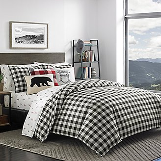 Thumbnail View 2 - Mountain Plaid Comforter/Sham Set - Black