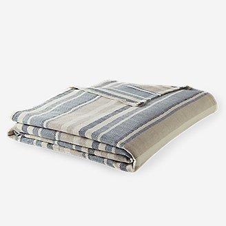 Thumbnail View 2 - Herringbone Cotton Blanket - Blue Stripe