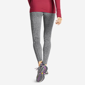 Thumbnail View 2 - Women's Crossover Fleece Trail Tight Leggings - High Rise