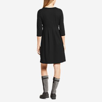 Thumbnail View 2 - Women's Aster 3/4-Sleeve Crossover Dress with Pockets - Solid