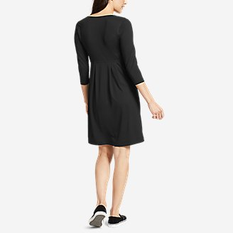 Thumbnail View 3 - Women's Aster 3/4-Sleeve Crossover Dress with Pockets - Solid
