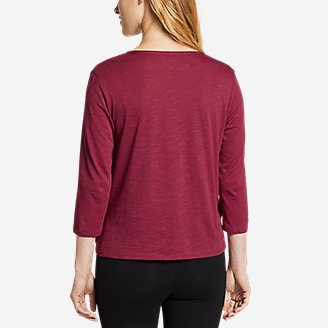Thumbnail View 2 - Women's Gate Check 3/4-Sleeve Wrap-Front Top