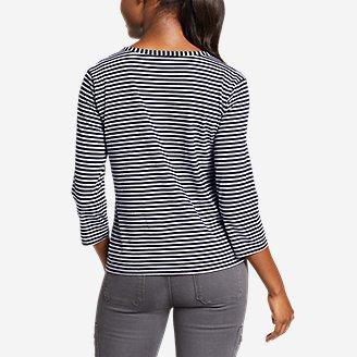Thumbnail View 2 - Women's Gate Check 3/4-Sleeve Wrap-Front Top - Stripe