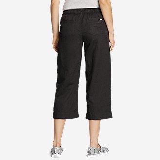 Thumbnail View 2 - Women's Linen Pull-On Wide-Leg Crop Pants