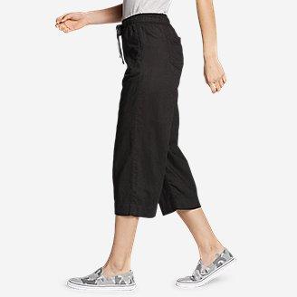 Thumbnail View 3 - Women's Linen Pull-On Wide-Leg Crop Pants