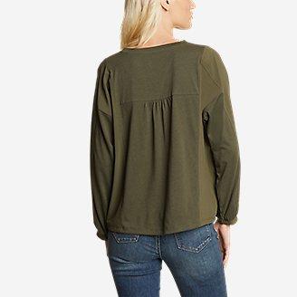 Thumbnail View 2 - Women's Gate Check Woven-Inset Long-Sleeve Button-Front T-Shirt