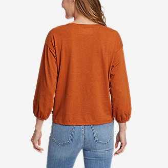 Thumbnail View 2 - Women's Myriad 3/4-Length Puff Sleeve Top - Solid