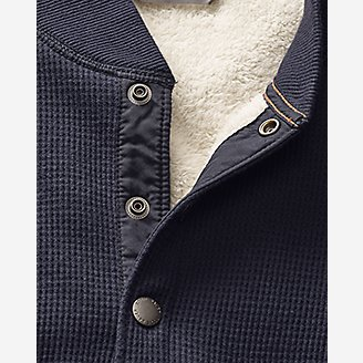 Thumbnail View 3 - Men's Sherpa-Lined Thermal Henley