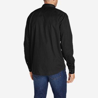 Thumbnail View 2 - Men's Signature Twill Classic Fit Long-Sleeve Shirt - Solid