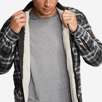 Thumbnail View 3 - Men's Eddie's Favorite Flannel Sherpa-Lined Shirt Jacket