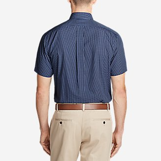 Thumbnail View 2 - Men's Wrinkle-Free Relaxed Fit Short-Sleeve Pinpoint Oxford Shirt - Blues
