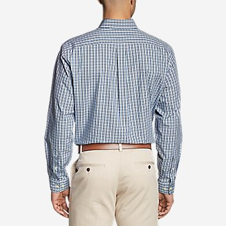 Thumbnail View 2 - Men's Wrinkle-Free Relaxed Fit Pinpoint Oxford Shirt - Blues