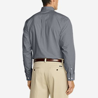 Thumbnail View 2 - Men's Wrinkle-Free Relaxed Fit Pinpoint Oxford Shirt - Solid Long-Sleeve