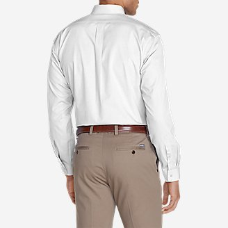 Thumbnail View 2 - Men's Wrinkle-Free Slim Fit Pinpoint Oxford Shirt - Solid