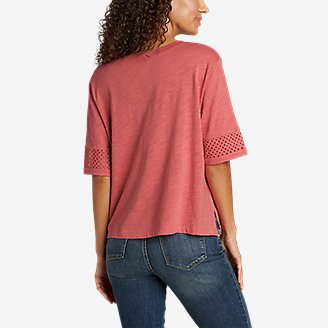 Thumbnail View 2 - Women's Concourse Short-Sleeve Crochet T-Shirt