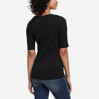 Thumbnail View 2 - Women's Favorite Scoop-Neck Elbow-Sleeve T-Shirt