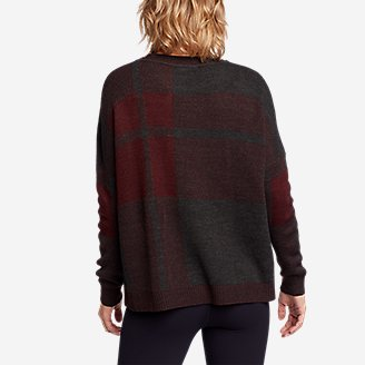 Thumbnail View 2 - Women's Easy Pullover Crewneck Sweater - Plaid