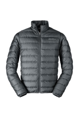 NWT Eddie Bauer Men/'s Cirruslite Down Hooded Jacket MEDIUM Puffer Dark Smoke NEW