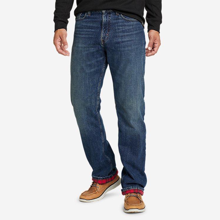 Men's Flannel-Lined Flex Jeans - Straight Fit large version