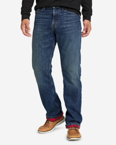 Eddie Bauer Men's Flannel-Lined Flex Jeans - Straight Fit