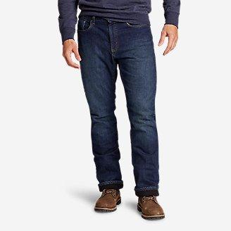 Thumbnail View 1 - Men's Fleece-Lined Flex Jeans - Straight