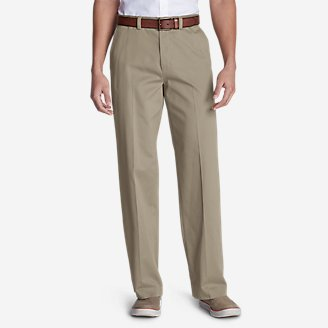 Thumbnail View 1 - Men's Casual Performance Flat-Front Chinos - Relaxed