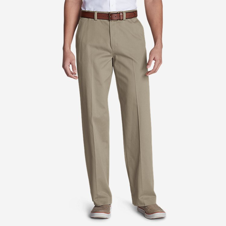 Men's Casual Performance Flat-Front Chinos - Relaxed large version