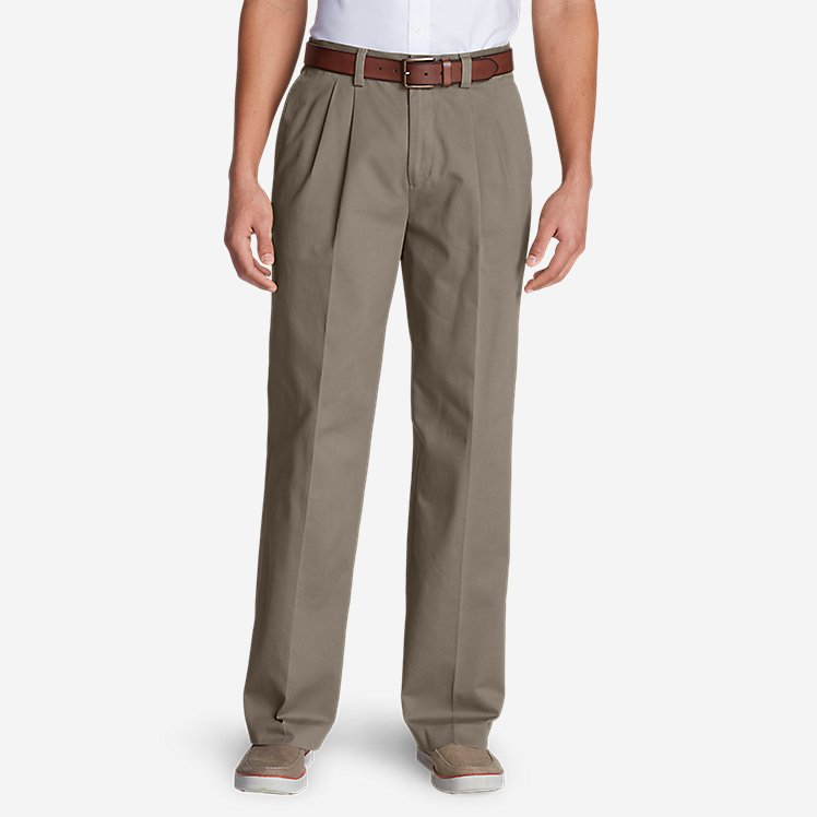 Men's Casual Performance Pleated Chinos - Relaxed large version