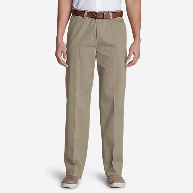 Men's Casual Performance Comfort-Waist Flat-Front Chinos - Relaxed large version