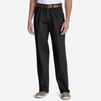 Thumbnail View 1 - Men's Casual Performance Comfort-Waist Pleated Chinos - Relaxed