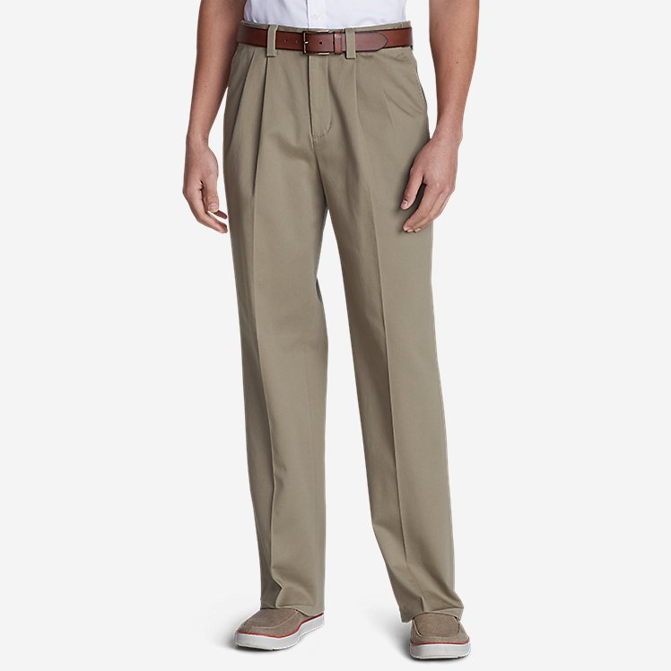 Men's Casual Performance Comfort-Waist Pleated Chinos - Relaxed large version