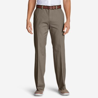 Thumbnail View 1 - Men's Casual Performance Flat-Front Chinos - Classic