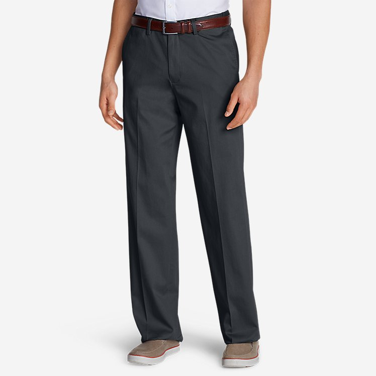 Men's Dress Performance Comfort-Waist Flat-Front Khakis - Relaxed large version