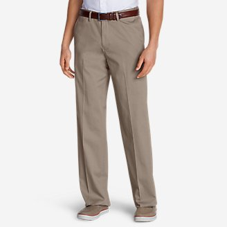 Thumbnail View 1 - Men's Dress Performance Comfort-Waist Flat-Front Khakis - Relaxed